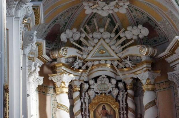Aglonas bazilikai līdzīgās baznīcas interjera fragments Bjelostokā